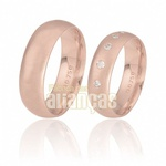 Aliança Pontilhadas Com Diamantes De Ouro Rose 18k