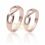 Alianças De Ouro Rose 18k Infinito Com Diamantes