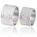 Aliança De Noivado e Casamento Em Ouro Branco 18k 0,750 Fa-373-b