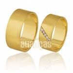 Alianças De Noivado e Casamento Em Ouro Amarelo 18k 0,750 Fa-378-15
