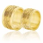 Alianças De Noivado e Casamento Em Ouro Amarelo 18k 0,750 Fa-381