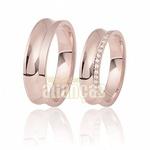 Alianças De Noivado e Casamento Em Ouro Rose 18k 0,750 Fa-410-r
