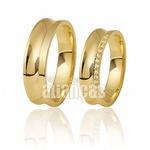 Alianças De Noivado e Casamento Em Ouro Amarelo 18k 0,750 Fa-410