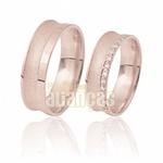 Alianças De Noivado e Casamento Em Ouro Rose 18k 0,750 Fa-411-r