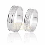Alianças De Noivado e Casamento Em Ouro Branco 18k 0,750 Fa-412-b