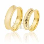 Alianças De Noivado e Casamento Em Ouro Amarelo 18k 0,750 Fa-417