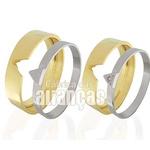 Aliança em Ouro Duas Cores com Diamante