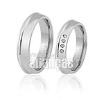 Aliança De Noivado e Casamento Em Ouro Branco 18k 0,750 Fa-434-b