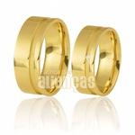 Alianças de Casamento com Friso Escovado em Ouro Amarelo
