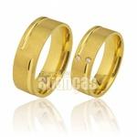 Alianças em Ouro Amarelo Fosca com Diamantes