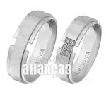 Aliança De Noivado e Casamento Em Ouro Branco 18k 0,750 Fa-498-b
