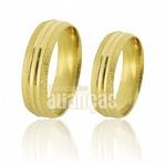 Alianças De Noivado e Casamento Em Ouro Amarelo 18k 0,750 Fa-506