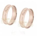 Alianças De Noivado e Casamento Em Ouro Rose 18k 0,750 Fa-530-r