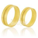 Alianças De Noivado e Casamento Em Ouro Amarelo 18k 0,750 Fa-566