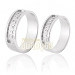 Alianças De Noivado e Casamento Em Ouro Branco 18k 0,750 Fa-567-b