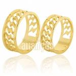 Alianças De Noivado e Casamento Em Ouro Amarelo 18k 0,750 Fa-568