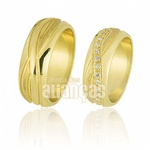 Alianças De Noivado e Casamento Em Ouro Amarelo 18k 0,750 Fa-572