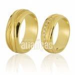 Alianças De Ouro 18k Simbolo Do Infinito Com Diamantes