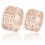 Alianças De Noivado e Casamento Em Ouro Rose 18k 0,750 Fa-586-r