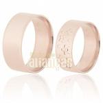 Aliança De Noivado e Casamento Em Ouro Rose 18k 0,750 Fa-590-r