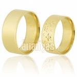 Alianças De Noivado e Casamento Em Ouro Amarelo 18k 0,750 Fa-590