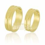 Alianças De Noivado e Casamento Em Ouro Amarelo 18k 0,750 Fa-593