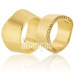 Alianças De Noivado e Casamento Em Ouro Amarelo 18k 0,750 Fa-636