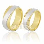 Alianças De Noivado e Casamento Em Ouro Amarelo 18k 0,750 Fa-639