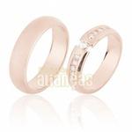 Aliança De Noivado e Casamento Em Ouro Rose 18k 0,750 Fa-640-r