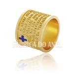 Aliança Com Oração Pai Nosso Em Ouro Amarelo 18k 0,750 Fa-645