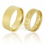 Alianças De Noivado e Casamento Em Ouro Amarelo 18k 0,750 Fa-657