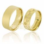 Alianças De Noivado e Casamento Em Ouro Amarelo 18k 0,750 Fa-659