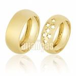 Alianças De Noivado e Casamento Em Ouro Amarelo 18k 0,750 Fa-662