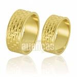 Alianças De Noivado e Casamento Em Ouro Amarelo 18k 0,750 Fa-666