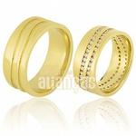 Alianças De Noivado e Casamento Em Ouro Amarelo 18k 0,750 Fa-669