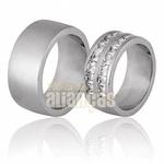 Aliança De Noivado e Casamento Em Ouro Branco 18k 0,750 Fa-672-b