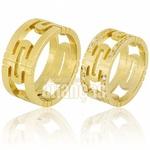 Alianças De Noivado e Casamento Em Ouro Amarelo 18k 0,750 Fa-674