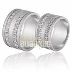 Aliança De Noivado e Casamento Em Ouro Branco 18k 0,750 Fa-681-b