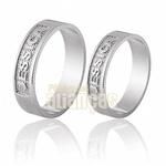 Alianças De Noivado e Casamento Em Ouro Branco 18k 0,750 Fa-691-b