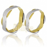 Alianças De Noivado e Casamento Em Ouro Amarelo 18k 0,750 Fa-694