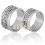 Aliança De Noivado e Casamento Em Ouro Branco 18k 0,750 Fa-698-b