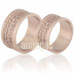Aliança De Noivado e Casamento Em Ouro Rose 18k 0,750 Fa-698-r