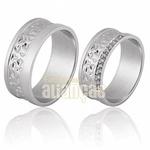Alianças De Noivado e Casamento Em Ouro Branco 18k 0,750 Fa-709-b