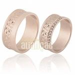 Alianças De Noivado e Casamento Em Ouro Rose 18k 0,750 Fa-709-r