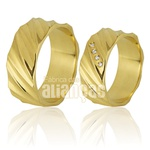Alianças De Noivado e Casamento Em Ouro Amarelo 18k 0,750 Fa-764