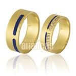 Alianças De Noivado e Casamento Em Ouro Amarelo 18k 0,750 Fa-765