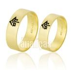 Alianças De Noivado e Casamento Em Ouro Amarelo 18k 0,750 Fa-786