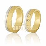 Alianças de Ouro 18k Diamantadas com Filete de Ouro Branco