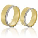 Alianças De Noivado Ouro 18k Duas Cores e Diamantes
