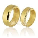 Alianças De Noivado Ouro 18k Com Diamantes